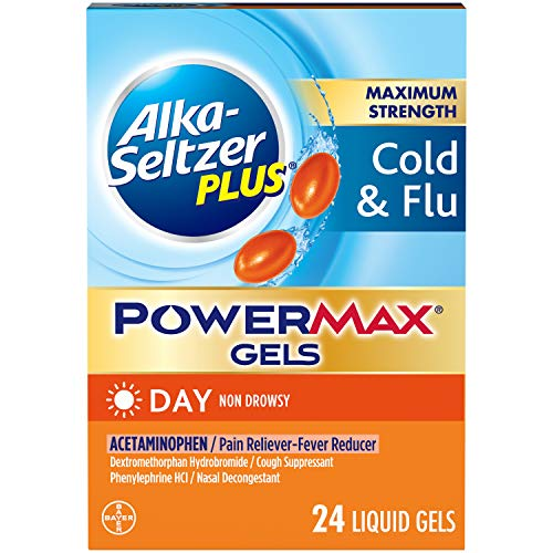 Alka-Seltzer Maximum Strength PowerMax Gels with Acetaminophen, Day Cold and Flu Medicine for Adults, 24 Count