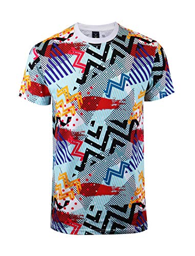 SCREENSHOTBRAND-S11010 Mens Hipster Hip-Hop Premium Tee - Stylish 80's Classic Retro Abstract Print T-Shirt-Geometric-Large