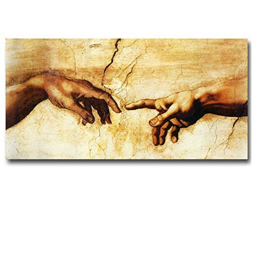 YaShengZhuangShi Creación de Adán Mano de Dios Religión Pintura en Lienzo Famosa Pintura Copia de los Frescos de la Capilla Sixtina de Miguel Ángel Arte de la pared-60x120cm Sin Marco