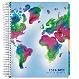 Deluxe 2021-2022 Dated Teacher Planner: 8.5'x11' Includes 7 Periods, Page Tabs, Bookmark, Planning Stickers, Pocket Folder Daily Weekly Monthly Planner Yearly Agenda (World Map)