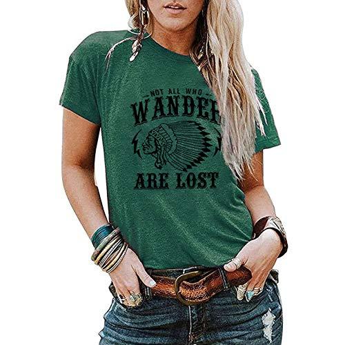 SLYZ Señoras Verano Código Europeo Estampado Patrón Cuello Redondo Casual Manga Corta Camiseta Top Mujeres