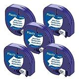 Aken kompatible Band als Ersatz für Dymo Letratag Etikettenband Plastic White 12mm x 4m für Dymo letratag XR LT-100H LT-100T LT-110T QX50 2000, Kunststoff Schriftband Schwarz auf Weiß, 91221/S0721660