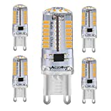 Bombilla LED G9, 230 V, 3 W/30 W, halógena, blanco cálido, 3000 K, sin parpadeo y alta potencia, bombilla led G9, para cama, armario, salón y comedor (G9-3014b-66led-ww-5-es)