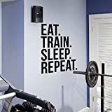 Sleep Repeat Fitness Wall Decal Quote for Gym Kettlebell Crossfit Motivational Quotes Art Stickers Home Decor 42X58 Cm