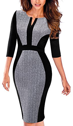 HOMEYEE Damen Vintage 3/4 Ärmel Bodycon Mantel Bleistift Kleid B409(EU 42 = Size XL,Grau)