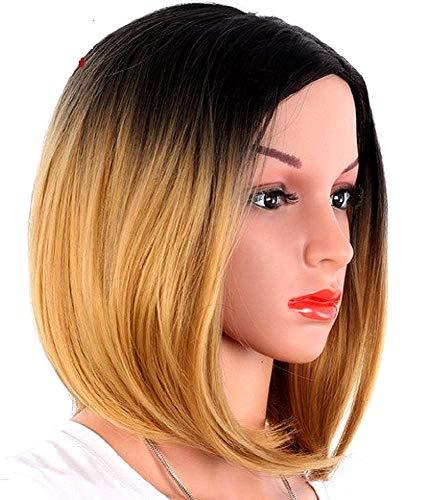 Zwart - blond - pruik lang steil haar bob - bi - hergroei - vermomming - carnaval - halloween - gradiënt - synthetisch - 34 cm - bob - vrouw - kerstverjaardagsgeschenkidee
