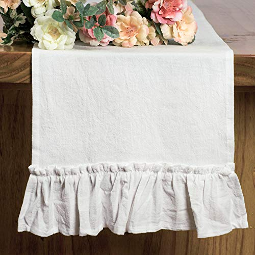 Letjolt White Table Runner Cotton Table Runner Ruffle Rustic Fabric Halloween Decor Thanksgiving Day Wedding Baby Shower Home Kitchen Birthday Party, White 12x108 Inches