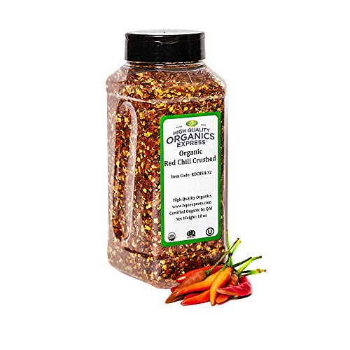 HQOExpress | Organic Red Chili Pepper Crushed | 10 oz. Chef Jar