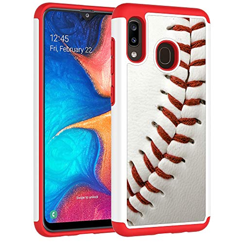 Samsung Galaxy A30 Case,Galaxy A20 Case - Baseball Sports Pattern Shock-Absorption Hard PC and Inner Silicone Hybrid Dual Layer Armor Defender Protective Case Cover for Samsung Galaxy A30/A20