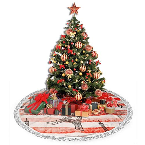 Tassel Christmas Tree Skirts Vintage Paris Eiffel Tower Red Line 36 inches Xmas Tree Skirt Mat for Christmas Thanksgiving Holiday Home Party Decorations Ornaments