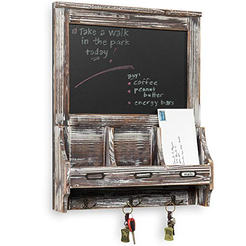 Rustic Dark Brown Wood Wall Mounted Mail Sorter Key Hook Organizer Rack w/ Memo Bulletin Chalkboard Sign