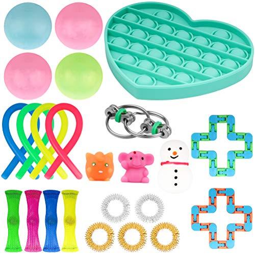 Zhangpu Anti Stress Spielzeug Set, 24 Stück Bubble Fidget Sensory Toy Set, Fidget Toys for Kids and Adults für Stressabbau und Anti-Angst für Kinder und Erwachsene ADD ADHS