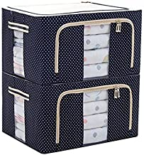 JJMG Stackable Storage Box Polka Dots Oxford Cloth Steel Frame Shelf Quilt Clothing Blanket Pillow Shoe Holder Container O...