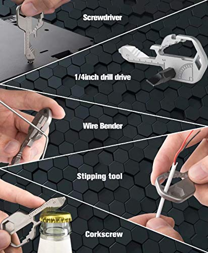 24- in-1 Key Shaped Pocket Tool, multitool key with key chain, Outdoor keychain tool for Drill Drive, Screwdriver, file, Bottle Opener, Wrench, Ruler, Wrench, Stripping, etc (Silver)