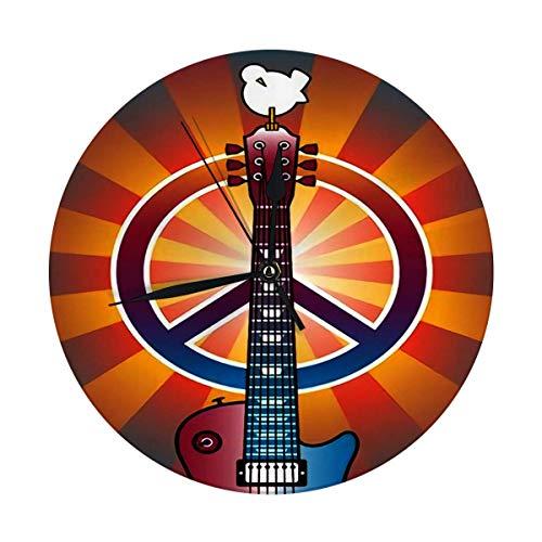 xianhaotaojiafa Runde Wanduhr und von Guitar Peace Symbol und Taube der Woodstock Music Art Fair gewidmet Dekorativ für Zuhause, Büro, Schule 9.8 '