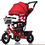 kiter Sillas de Paseo Cochecito de bebé Moda con sombrilla Cochecito de bebé Plegable para niños Triciclo 1-3-5 años Pedal Infantil Bicicleta Trike Bicicleta (Color : B)