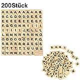 200 Stück Holz Alphabet Scrabblefliesen Buchstaben Scrabble Buchstabene Crafts für das...