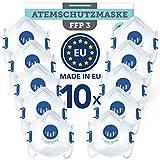 BEMS MEISTERWERK FFP3 MaskeWiederverwendbar(10 STK.)Made in EUCE zertifiziert (EN149:2001+A1:2009) – Premium Atemschutzmaske mit Ventil –