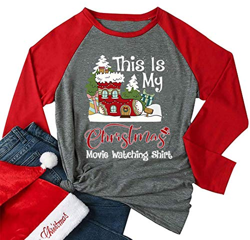 It's a Christmas Movies & Wine - Camiseta de Manga Larga para Mujer, Estilo Casual - - X-Large