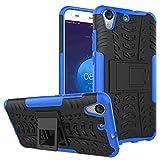 pinlu® Funda para Huawei Y6 II/Honor 5A Smartphone Doble Capa Híbrida Armadura Silicona TPU + PC Armor Heavy Duty Case Duradero Protección Neumáticos Patrón Azul