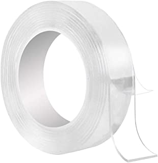 Washable Adhesive Tape, Samcool 10.5FT Traceless Reusable Clear Double Sided Anti-Slip Nano Gel Pads,Removable Sticky Tran...