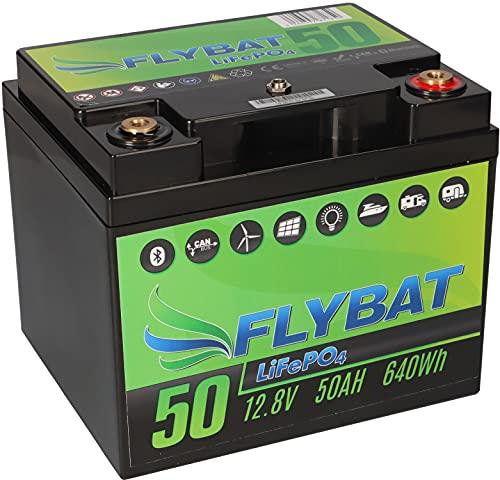Batería LiFePO4 de 12 V (12,8 V), 50 Ah, incluye Bluetooth y batería de alimentación CanBus para barco, yate, caravana, etc.
