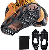Ice Snow Traction Cleats Crampons Anti-Slip Snow Shoes Cleats Walking on Snow and Ice Winter Walking Boots Cleats for Men Women Hiking, Jogging (24 Steel Crampons,Szie L)