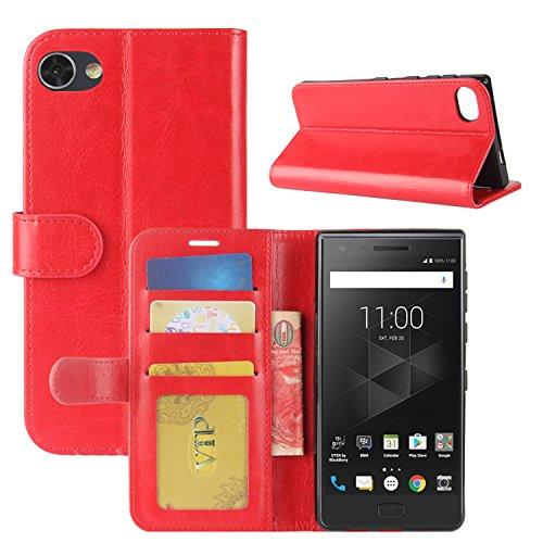 HualuBro BlackBerry Motion Hülle, [All Aro& Schutz] Premium PU Leder Leather Wallet Handy Tasche Schutzhülle Hülle Flip Cover mit Karten Slot für BlackBerry Motion Smartphone (Rot)