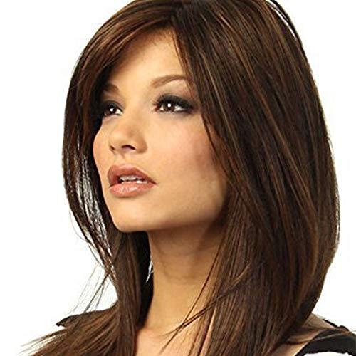Mme Long cheveux raides perruque En Europe et en Amérique Sculpté long cheveux raides perruque Set Staining Perruques Femme XXYHYQHJD