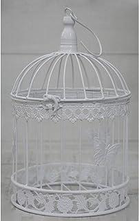 Hogar y Mas Jaula Blanca Decorativa de Metal, Elegante y Original Mariposas. Decoración Jaulas Boda, Comunión, Jardín. - Grande
