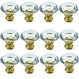 JJDD - Pomos de cristal (30 mm, 12 unidades), diseño de diamante