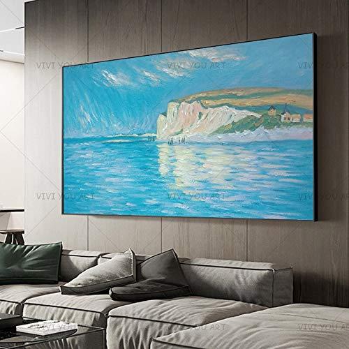 wZUN Vista del Cielo Blanco Abstracto Hermoso y Colorido Lienzo de mar Pintura al óleo Mural Sala de Estar Pasillo decoración del hogar 60x120 Sin Marco