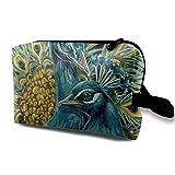XCNGG Bolsas de aseo Bolsa de cosméticos de viaje portátil Exquisitas bolsas de aseo Bolsas de maquillaje Arte del pavo real