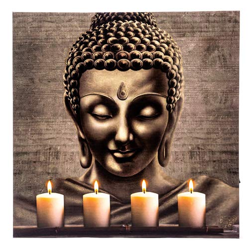 TIMER LED Bild Leinwand mit Buddha, Wandbild, Ein/Aus Schalter, Leuchtbild batteriebetrieben