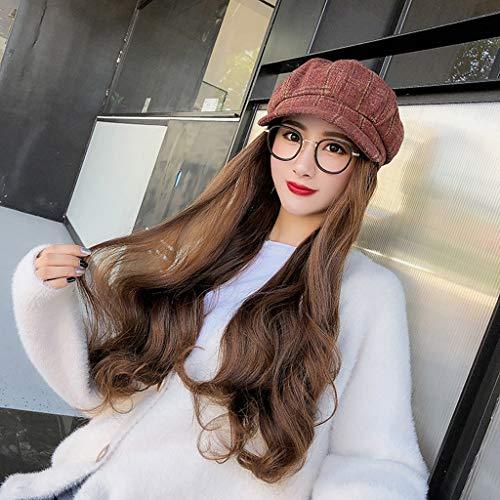 Chapeau Cheveux Synthétique Longue Perruque Femmes Wavy Bonnet Hat avec Amovible for Girl Party Usage Quotidien 5 Couleurs f1102 (Color : Light Brown)