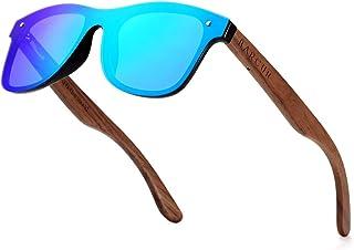 BARCUR Vintage Mens Womens Wooden Sunglasses Polarized Walnut Zebra Rimless Square Luxury Sun Glasses