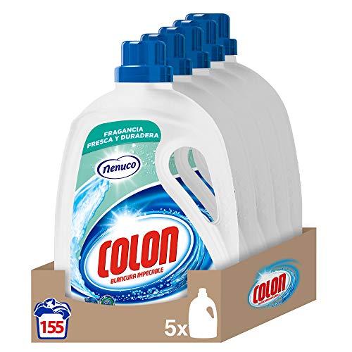 Colon Nenuco - Detergente para lavadora, adecuado para ropa blanca y de color, formato gel, 1,612 l - pack de 5, hasta 155 dosis