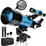 Upchase Telescopio Astronomico, 300/70mm Azul,Viaje Telescopio, Incluye Adaptador Móvil, Trípode, Observar la Luna, Galaxias y más, Ideal para Niños y Adultos Principiantes.Regalo de Vacaciones