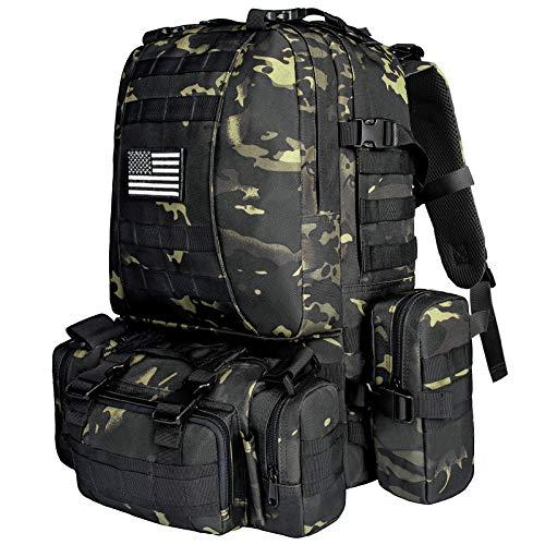 NOOLA Taktischer Militär-Rucksack, Armee-Angriffspack, MOLLE-Tasche, Unisex-Erwachsene, Schwarzes Multicam, Large