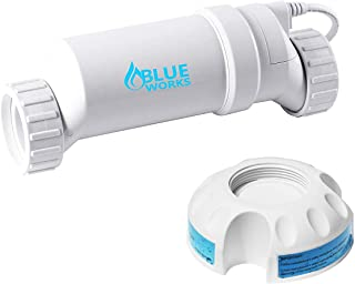 BLUE WORKS T-Cell-9 Salt Chlorination Replacement Cell Up to 25,000 Gallon Swimming Pools with a Cleaning Stand Compatible with Hayward Aqua Rite System/Turbo Cell(White)
