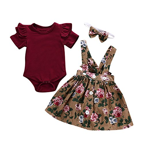 iLOOSKR 3pcs Baby Toddler Girls Solid T-Shirt Tops Floral Printed Skirt+Headband So Cute Romper Clothes Outfits