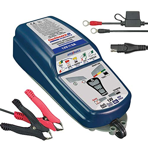 TecMate OptiMATE 6 Ampmatic TM180, 9-stufiges 12V 5A Batterierettungs, -lade-, -test-, -wartungsgerät