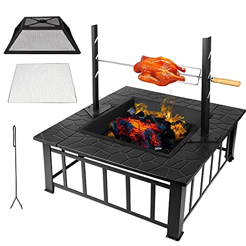 Outdoor Fire Pits for Garden with BBQ Grill, Square Firebowls with Mesh Cover, Detachable Garden Fire Pit Table / Heaters / Ice Pit for Patio Camping BBQ Bonfire, with Grill Nets Charcoal Nets Poker