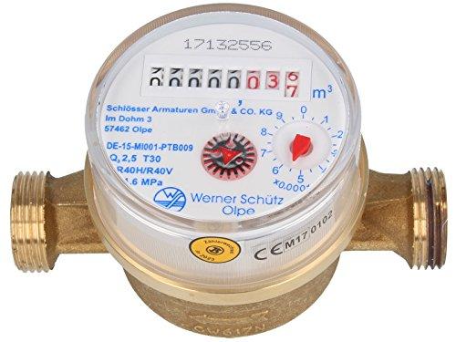 SCHÜTZ Wohnungs- Einstrahl-Wasserzähler Q3 - R 40 mit aktueller Eichung (Warmwasser 110 mm x 1/2 Zoll)
