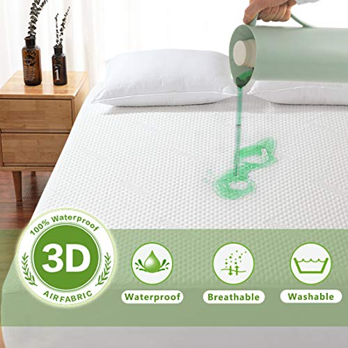 Fraylon Bamboo 100% Waterproof Mattress Protector, 3D Air...