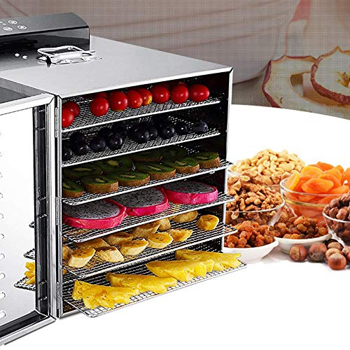 Best Prices! Food Dehydrator Adjustable Temperature Stainless Steel 6 Tray Fruit & Vegetables Dryer ...