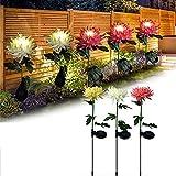 Solar Blumenlichter, Blumenrasenlicht Simulation Chrysantheme Solar Gartenlampe, Garten Solarlichter Im Freien Wasserdichte Blumen FüR Garten, Hof, Terrasse, Vase (2gelb)