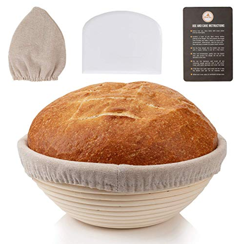 9 Inch Banneton - Sourdough Proofing Basket for Artisan Style Homemade Bread Baking, Round Rattan Starter Bowl Set with Silicone Dough Scraper and Cloth Liner for Professional & Home Bakers