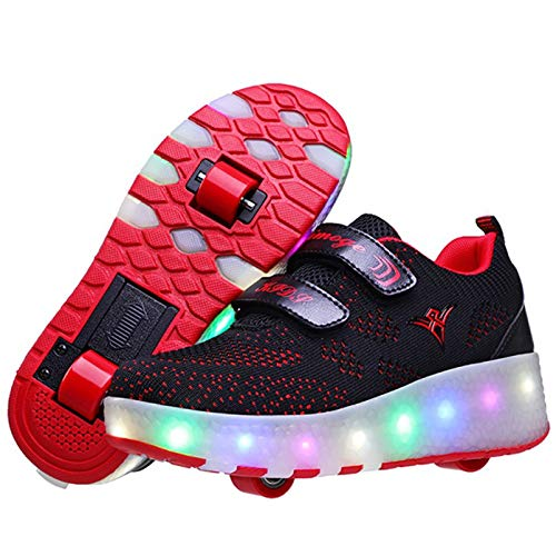 Niños Zapatos Deportivos con luz LED Rosa Azul Rojo Carga USB Patines de Ruedas Ligeros Zapatos Deportivos Transpirables de Malla para niños poleas Dobles