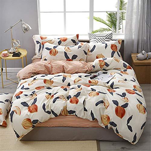 Juego de sábanas y Fundas nórdicas para niñosDiseño de durazno Naranja, Suave y cómodo y Agradable para la Piel, Lavable, Naranja-150 * 200cm-1